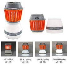 Load image into Gallery viewer, Camping Lantern Tent Light, 2 in 1 Insect Killer Waterproof and USB Rechargeable Mosquito killer with Retractable Hook and Removable Lampshade for Outdoors Emergencies