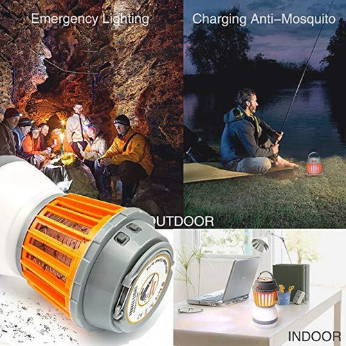 Camping Lantern Tent Light, 2 in 1 Insect Killer Waterproof and USB Rechargeable Mosquito killer with Retractable Hook and Removable Lampshade for Outdoors Emergencies