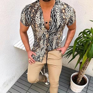 Men's Casual Leopard Lapel Short Sleeve Shirt