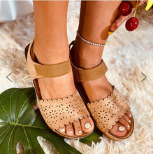 Load image into Gallery viewer, Summer Artificial Leather Low Heel Hollow-Out Sandals