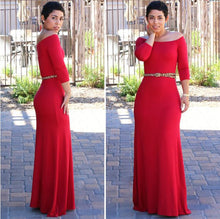 Load image into Gallery viewer, 2020 new off-the-shoulder 3/4 sleeve high waist long dress