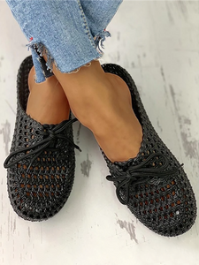 Hollow Out Lace-Up Slides Breathable Sandals