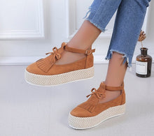 Load image into Gallery viewer, Women's Leather Fringed Platform Flat Shoes