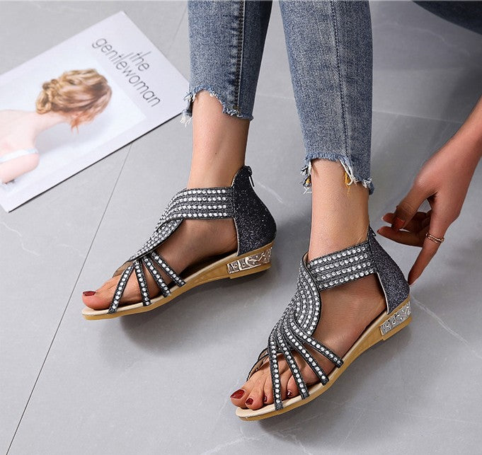 Women's wedge low-heeled metal sandals
