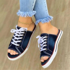 Monavogue Women Denim Lace Decoration Open Toe Slippers