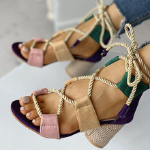Load image into Gallery viewer, Lace-up Chunky Heels Open Toe Sandals