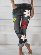 Load image into Gallery viewer, Plus Size Printed Floral Casual Jean