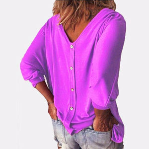 3/4 Sleeve Back Buttons V Neck Tops