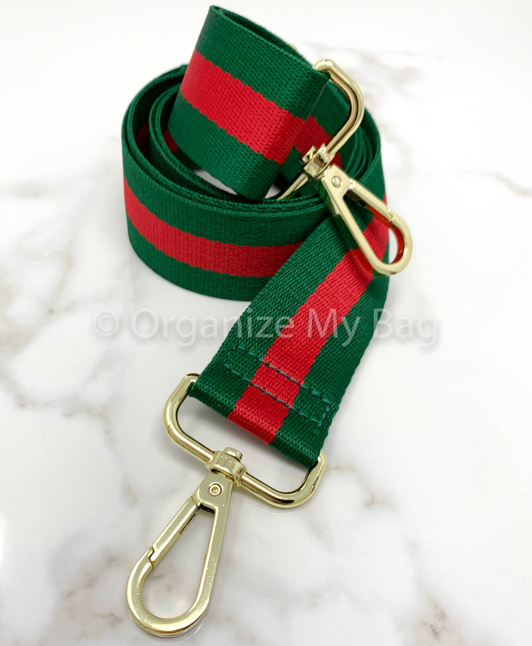 Red and Green Adjustable Web Guitar Strap