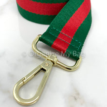 Load image into Gallery viewer, Red and Green Adjustable Web Guitar Strap