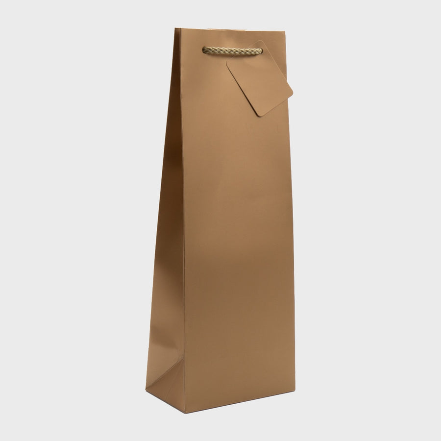 GOLD Single Bottle Gift Bag