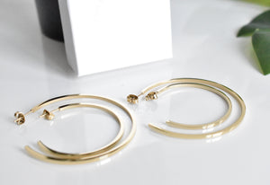 Thin Square Hoop Earrings