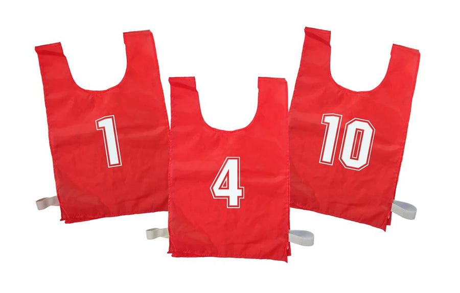 Numbered Sports Bibs Set of 10 - Red (4 Sizes Available)