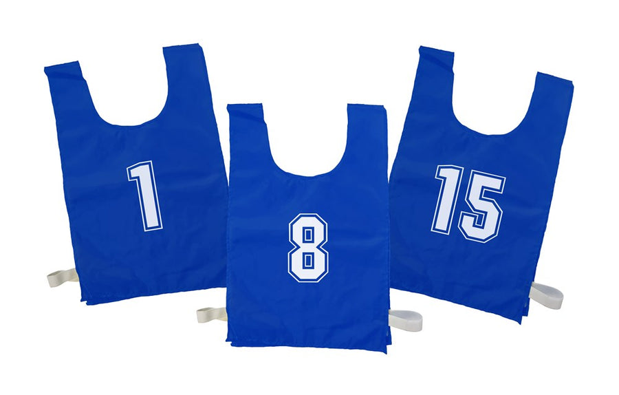 Numbered Sports Bibs Set of 15 - Blue (4 Sizes Available)