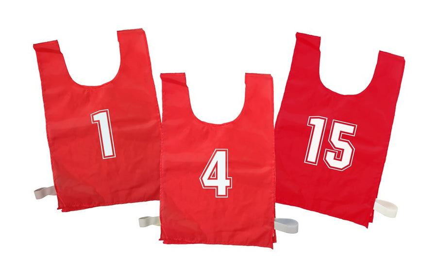 Numbered Sports Bibs Set of 15 - Red (4 Sizes Available)