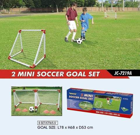 Outdoor Play Two Mini Soccer Goal Set