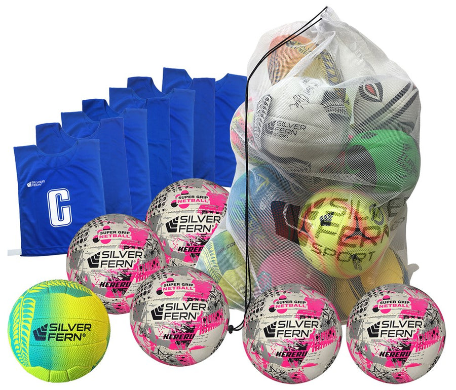 Silver Fern Netball Ball & Bib Pack