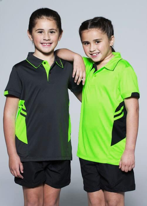tasman-polo-kids-fluro-yellow-black