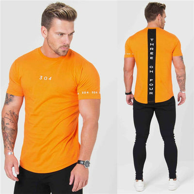 T-shirt Orange Bande Dos