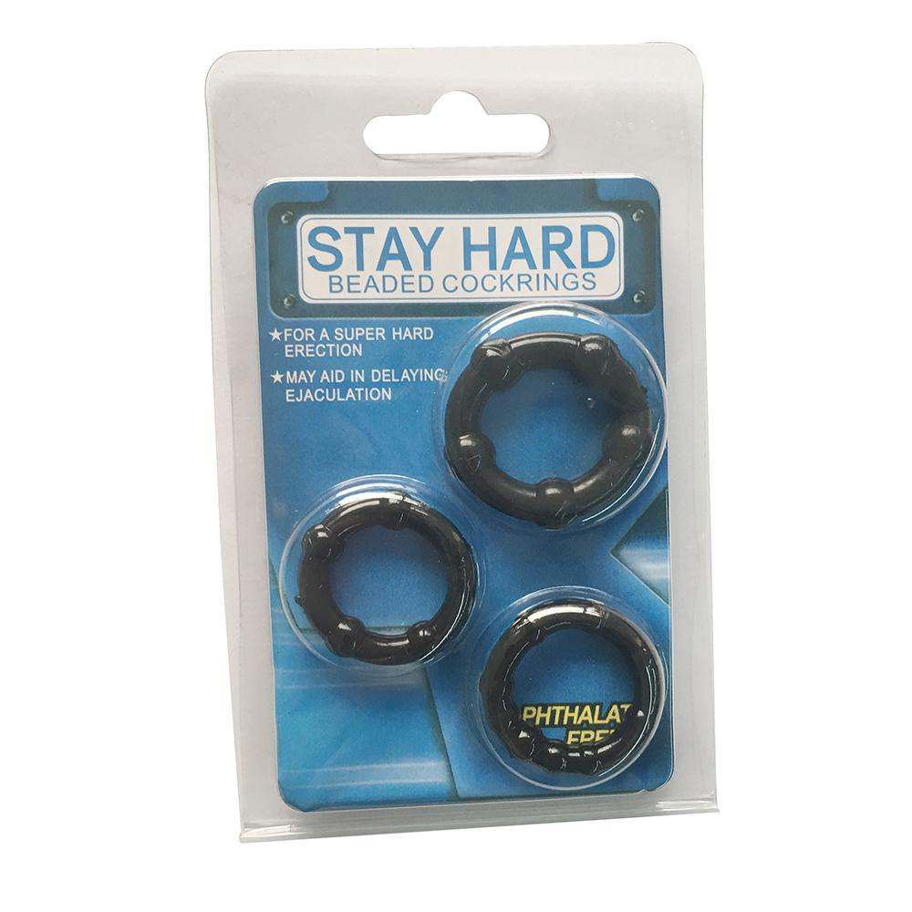 Generise Stay Hard Beaded Cock Rings 3 Pack, Sex Toys - Image 0