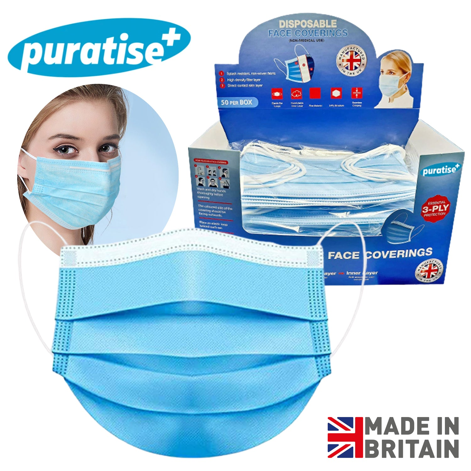 Puratise Disposable 3 Ply Face Masks- 50 Per Box- Made in the UK, Work Safety Protective Equipment by My Wholesale Warehouse