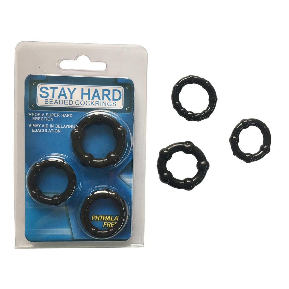 Generise Stay Hard Beaded Cock Rings 3 Pack, Sex Toys - Image 1