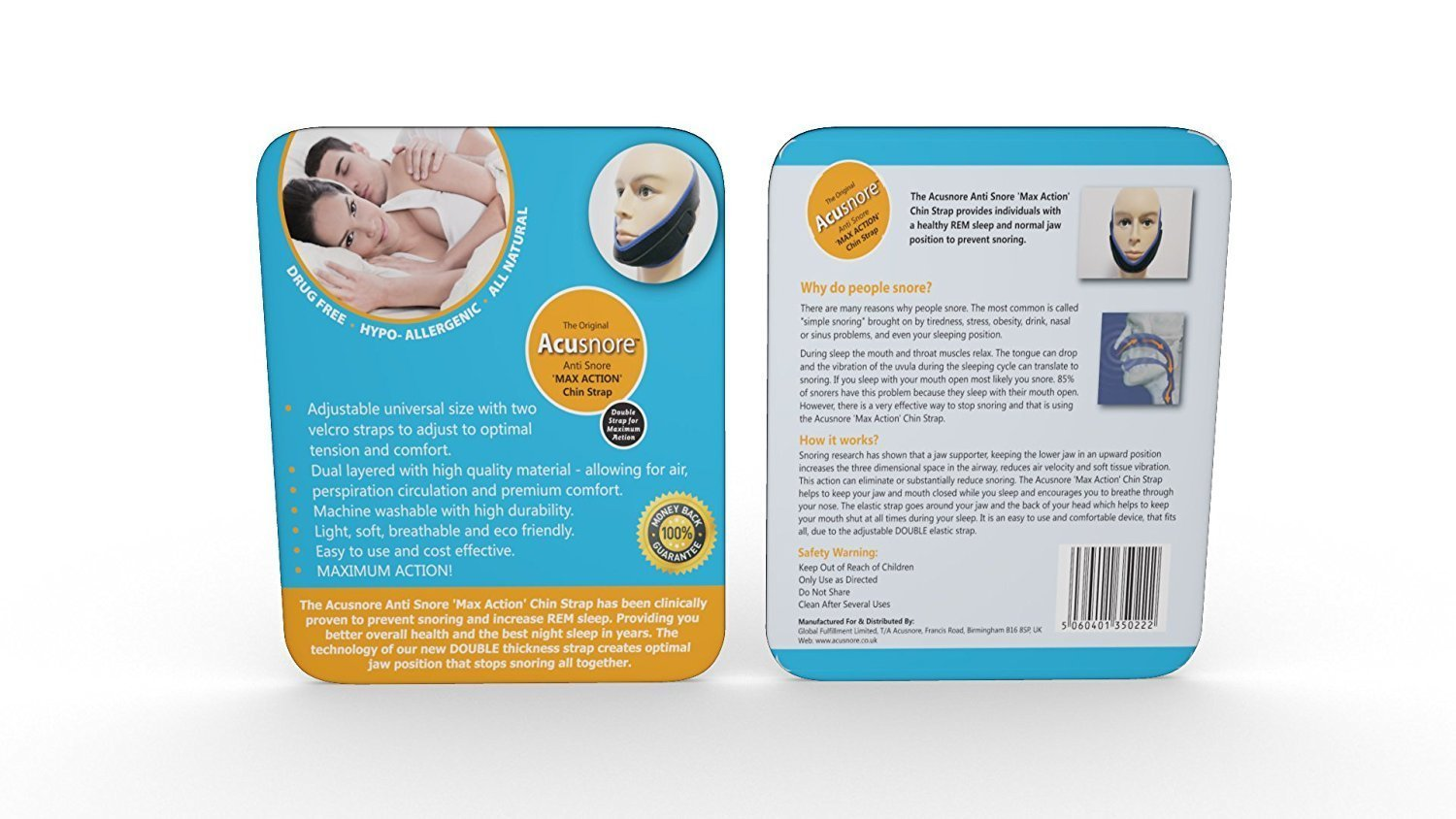 Acusnore Anti Snoring Double Support Max Action Chin Strap, Snoring & Sleep Apnea Aids - Image 3