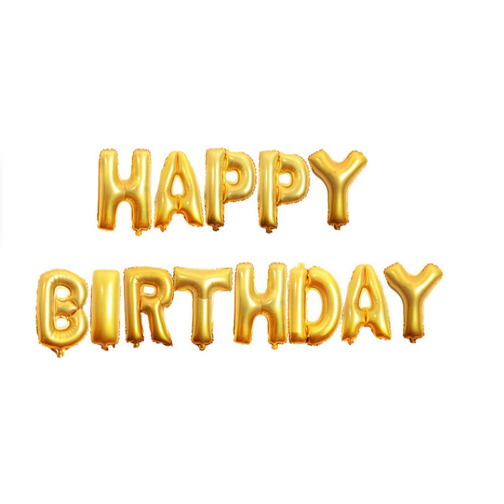 Inflatable Happy Birthday Balloon with String and Straw, Balloons - Image 1