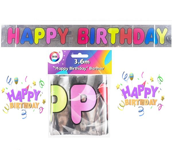 Happy Birthday Balloon Banner - 3.6m, Party Supplies by My Wholesale Warehouse