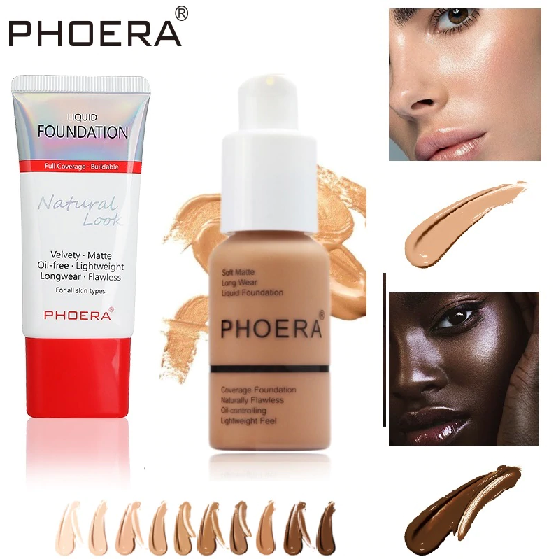 Phoera Liquid Foundation Tube Packaging, Face Makeup by My Wholesale Warehouse