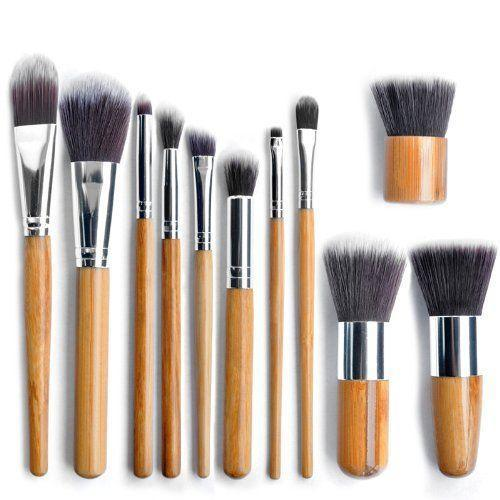 11pc Luxury Bamboo Makeup Brushes with Pouch by  My Wholesale Warehouse