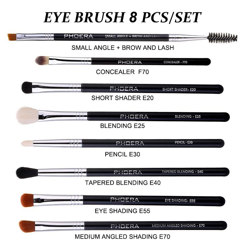 Phoera Eye Brush 8pc Set, Cosmetic Tools by My Wholesale Warehouse