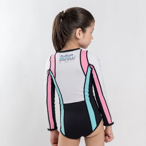 Speed Swimsuit Long Sleeve (Pink / Green) - Pow Kapow Kids Sportswear