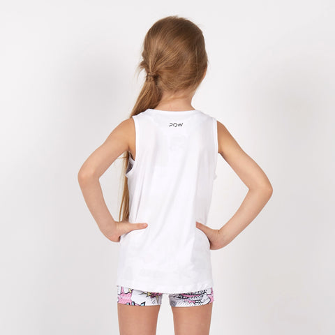All Stars Tank (White) - Pow Kapow Kids Sportswear
