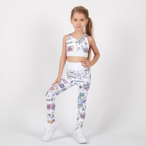 Power Pow Leggings (White) - PowKapow