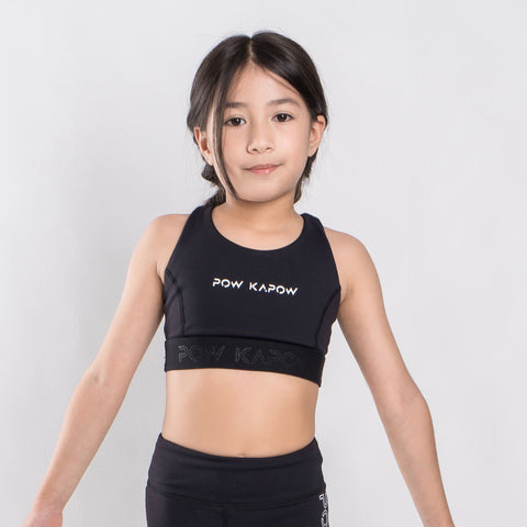 Racer Sports Bra (Black) - PowKapow
