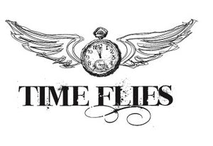 Klokje met wings en tekst Time flies - 160024