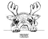 Merry Christmas bulldog with glasses - 180160-med.