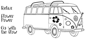 Happy Travels - VW-bus Flower Power - 190090