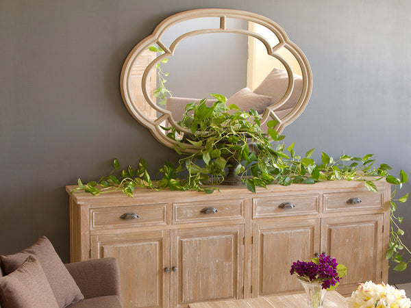 Beige oval mirror