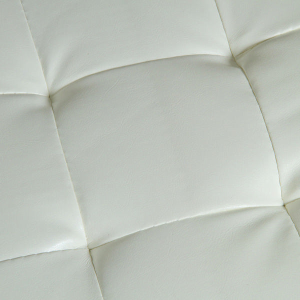 White faux leather pouf chair by Craften Wood
