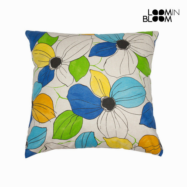 Green flowers cushion by Loomin Bloom