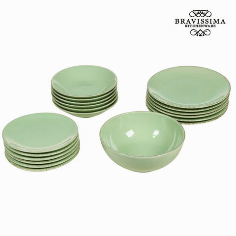19 piece green dinner set - Kitchen's Deco Collection by Bravissima Kitchen - Kæmpe udvalg af Kosmetik, Gadgets & interiør - Greatskin.dk