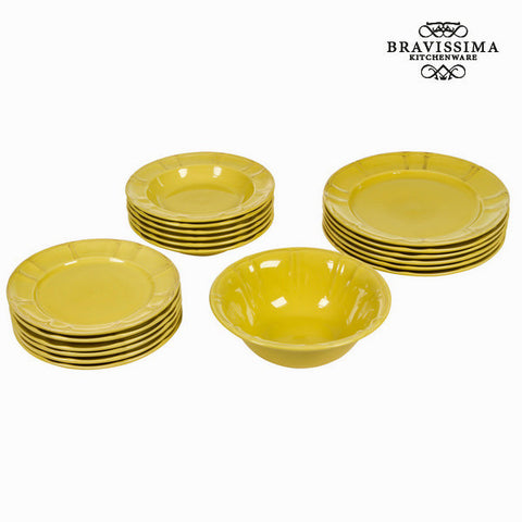 19 piece dinner set mustard yellow - Kitchen's Deco Collection by Bravissima Kitchen - Kæmpe udvalg af Kosmetik, Gadgets & interiør - Greatskin.dk