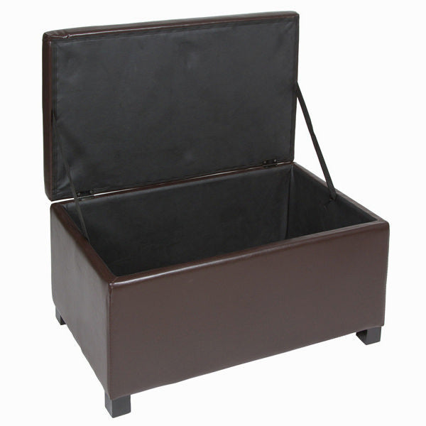 Set of 3 brown faux leather chests by Craften Wood