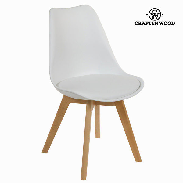 White polypropylene og bøgetræ stol by Craften Wood