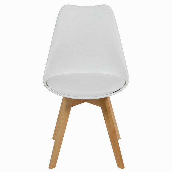 White polypropylene and beech wood chair by Craften Wood