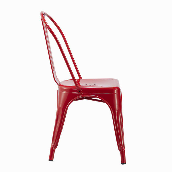 Vintage metal red chair by Craften Wood