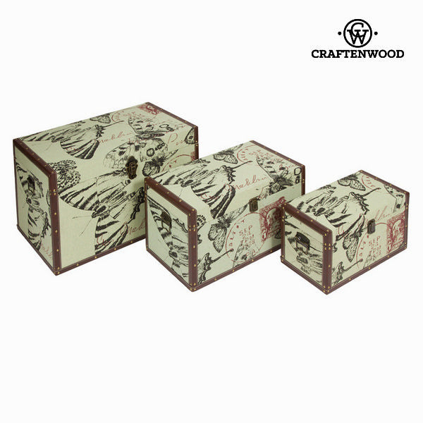 Set of 3 storage chests - Printed Collection by Craften Wood