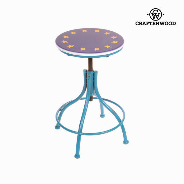 Stool metallic blue by Craften Wood